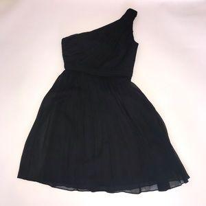 J. CREW SILK CHIFFON BLACK ONE SHOULDER DRESS, 0